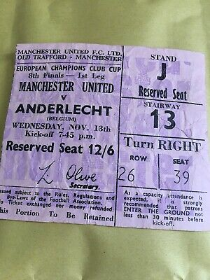 68/9 TICKET Manchester United V ANDERLECHT EUROPEAN CUP • 4.99£