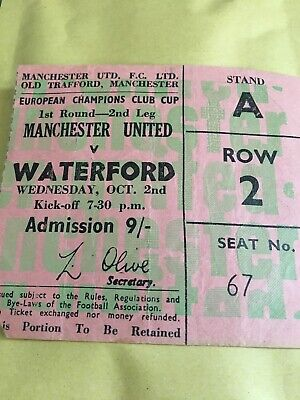 68/9 TICKET Manchester United V WATERFORD EUROPEAN CUP • 4.99£