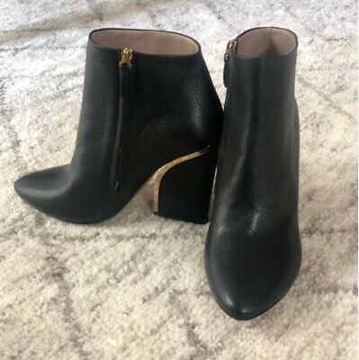 *chloÉ Gold Insert Mid *luxe *leather Boots Black Size 6 Uk 39 Eu Autumn Winter • 98£