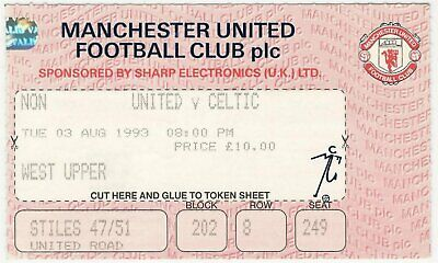 MANCHESTER UNITED V CELTIC PRE-SEASON FRIENDLY 1993/94 MATCH TICKET • 3.99£