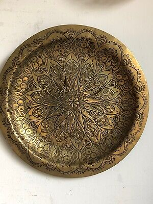 Vintage Indian Moroccan Decorative Embossed Brass Tray Wall Art Plate Boho Deco • 18£