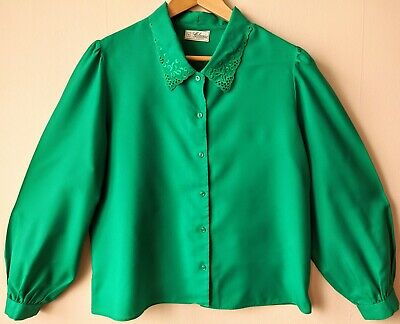 80s Vintage Edwardian Style Blouse Shirt 16 Embroidered Collar Secretarial • 19.95£