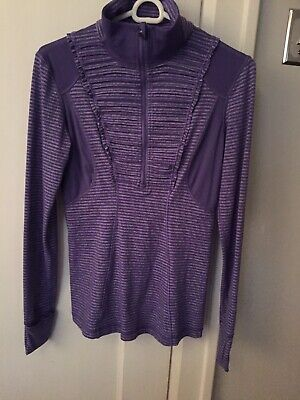 $ CDN24.99 • Buy Lululemon Size 6 Half Zip Purple Striped Ruffled Brushed Ls Top
