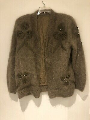 Beautiful Vintage Mohair Cardigan With Leather Detailing • 40£