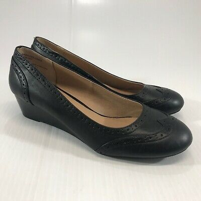 £10.49 • Buy GH Bass & Co Women's Dolores Black Wing Tip Wedge Heels Size 7