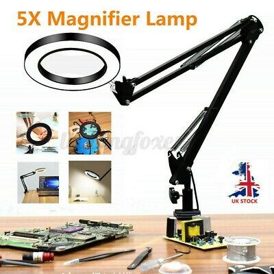 LED Desk Lamp 5X Magnifier Glass With Light Stand Clamp Beauty Magnifying Lamp • 23.59£