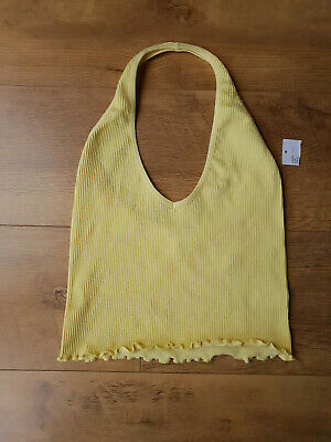 AU18.31 • Buy URBAN OUTFITTERS CROP VEST TOP Yellow Ribbed Halterneck Camisole L / 10-12 - NEW