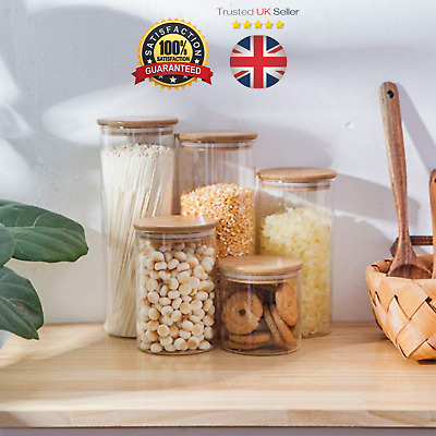 High Quality Glass Food Storage Jars With Airtight Bamboo Lids - Small To Large • 2.75£