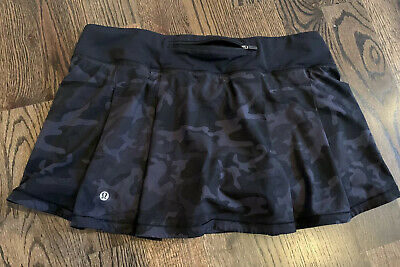$ CDN91.16 • Buy Lululemon Pace Rival Skirt 10 Tennis Run Yoga Skort Black Gray Camo Camouflage