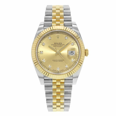 $ CDN20551.23 • Buy Rolex Datejust 41 Steel 18K Yellow Gold Champagne Diamond Dial Mens Watch 126333