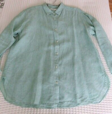 AU17 • Buy UNIQLO, Sz XL-16, Pure Linen Shirt, Curved Sides, Wear As Is Or As Outer Layer