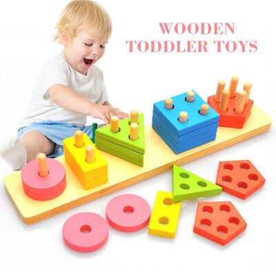 AU18.79 • Buy Wooden Educational Preschool Toddler Toys For 1 2 3 4 5 Years Old Girls Boys