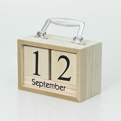 Natural Wooden Coloured Suitcase Shaped Perpetual Calendar Months Date Blocks • 8.50£