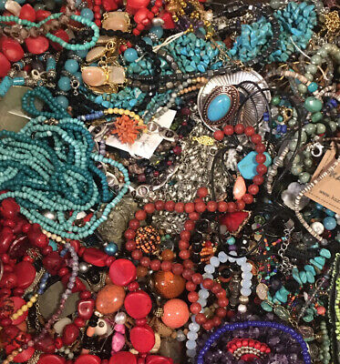 $ CDN84.34 • Buy HUGE STONE JEWELRY LOT Vintage Modern POUNDS LBS Crystal  Beads Turquoise Estate