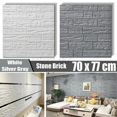 10MM 70x77CM 3D Tile Stone Brick Wall Sticker Self-adhesive Waterproof Wallpaper • 33.76£
