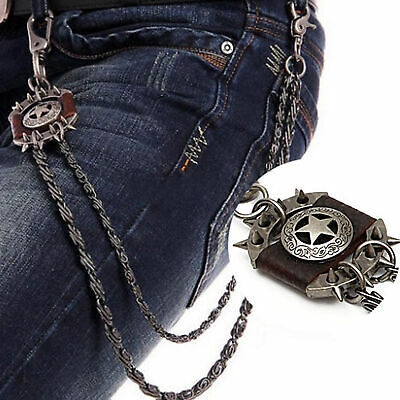 Punk Metal Jean Chain Men's Brown Iron Star Wallet Chain Biker Trucker Chains @y • 11.36£