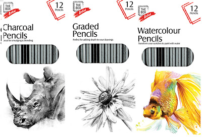 £2.25 • Buy Artist Pencils For Drawing Sketching 12 Pack Charcoal Watercolour Graded ART UK