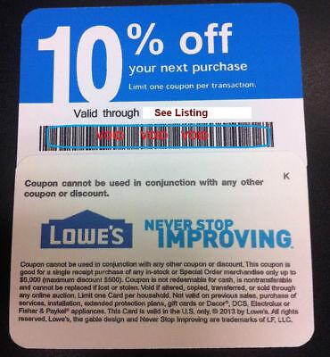 $10.38 • Buy 20x Lowes Blue Discount 10% Off Coupon Card Exp SEPT 2021 - Home Depot Discount