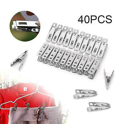 40 Pcs Stainless Steel Washing Line Clothes Pegs Hang Pins Metal Clips Clamps • 5.59£