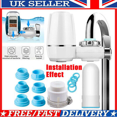 Reusable Faucet Water Filter Kitchen Sink Mount Filtration Tap Purifier Cleaner • 15.23£