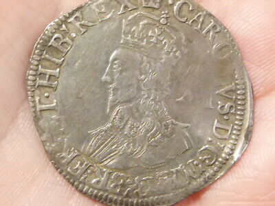 1635-36 Charles I Shilling Mm Crown S.2791 Hammered Silver NICE PORTRAIT  #LB57 • 300£
