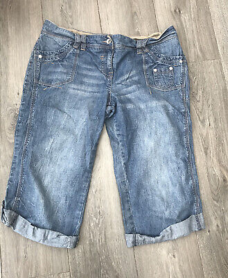 Next Roll / Turn Up Cropped Slouch Blue Jeans 16 Regular Long Shorts Ladies • 13.99£