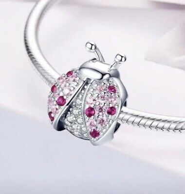 Silver Ladybird Pandora Fitting 925 CZ Sparking Charm New With Cleaning Cloth • 13.99£