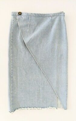 AU22 • Buy ZULU & ZEPHYR Light Wash Denim Fray Hem Wrap Skirt Boho Pencil - Size 12