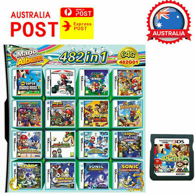 AU30.99 • Buy 482 In 1 NDS Game Pack Card Mario Album Cartridge For Nintendo DS 2DS 3DS -Local