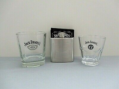 Jack Daniels Whiskey Tumblers X 2 & Hip Flask NEW JD Old No7 Set Great Gift! • 9.99£