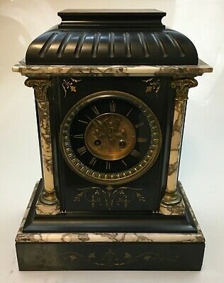 Antique Victorian Slate & Marble Mantel Clock - 241132 • 329.99£