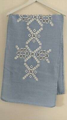Beautifully Embroidered Vintage Irish Linen Table Runner L130cms X W40cms New • 6.95£