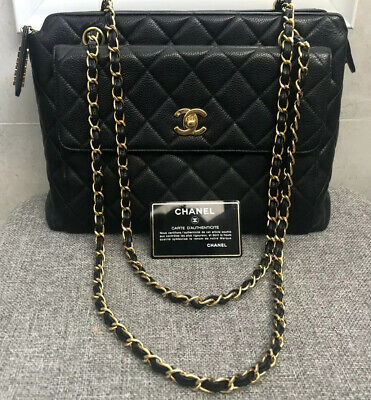 AU2985 • Buy Authentic Chanel Black Caviar Leather Medium Tote Immaculate Condition