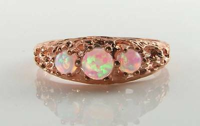£239 • Buy Lush 9k 9ct Rose Gold Fiery Opal Trilogy 3 Stone  Vintage Art Deco Ins Ring