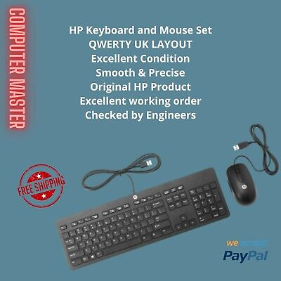 Original Hp Keyboard And Mouse Set,usb Wired Qwerty Uk Layout, Fast & Free • 11.99£