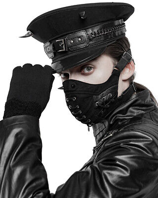 Punk Rave Mens Gothic Dieselpunk Mouthguard Face Mask Black Faux Leather Spiked • 25.99£