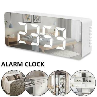 AU16.99 • Buy Mirror LED Alarm Clock Night Light Thermometer Clock USB/Battery Operated