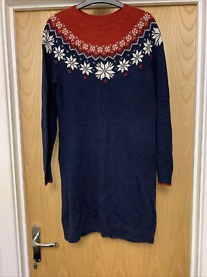 BNWT Womens Fat Face Navy Red Festive Fairisle Snowflake Knitted Dress - Size 10 • 49.50£