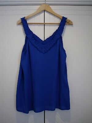 AU25 • Buy MASSIMO Dutti Lined Blue Cami With Frill New W Tags Size M E.C.
