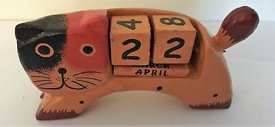 Shabby Chic Hand Carved Wooden Cat Perpetual Block Desktop Calendar • 6.95£