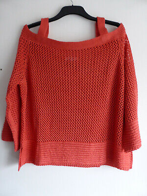 Simply Be Size 28 - 30 Off The Shoulder 3/4 Sleeve Chunky Knit  Jumper Coral • 15£
