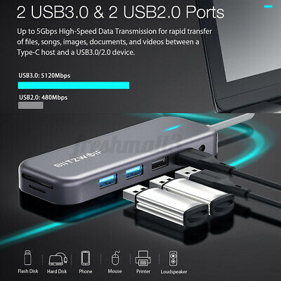 AU65.54 • Buy BlitzWolf BW-TH8 11 In 1 USB3.0 USB-C Data Hub With Type-C PD Power Delivery