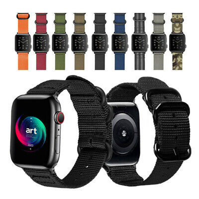 AU18.99 • Buy Military Woven Nylon Watch Strap For Apple Watch SE Band 42/44mm Series 6 5 4 3