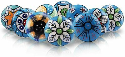 SETS OF 10 CERAMIC KNOBS Drawer Pulls Cupboard Handles Door Vintage Shabby Chic • 23.99£