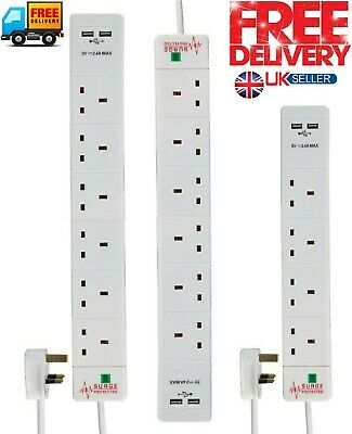 Surge Protected 4, 6 Way Extension Lead White 4 Gang Multi Plug Socket With USB  • 15.99£