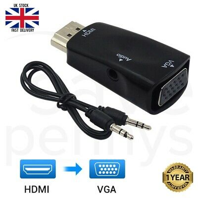 HDMI To VGA/SVGA Adapter Audio Cable Converter Male To Female 1080P  HDTV PC DVD • 3.19£