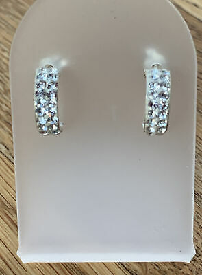 925 Silver Half Hoop Cubic Zirciona Stud Earrings • 7.25£