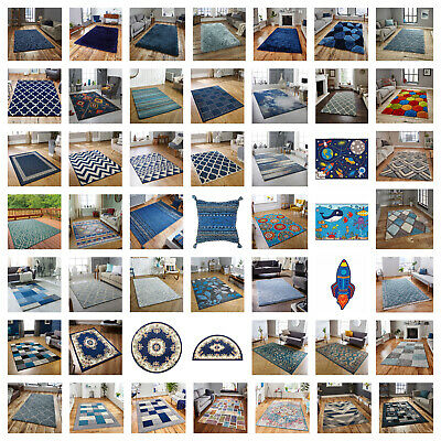 Large Modern Rugs,shaggy,blue,navy,antislip,trellis,traditional,circle,flatweave • 98£