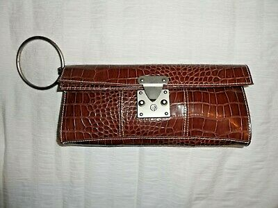 MEXX Brown Patent Faux Mock Croc Clutch Bag *BRAND NEW* • 45£