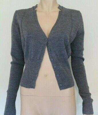 AU29.90 • Buy COUNTRY ROAD Womens Wool Grey V Neck Crop Knitted Cardigan Top Sz L 14 FREE POST